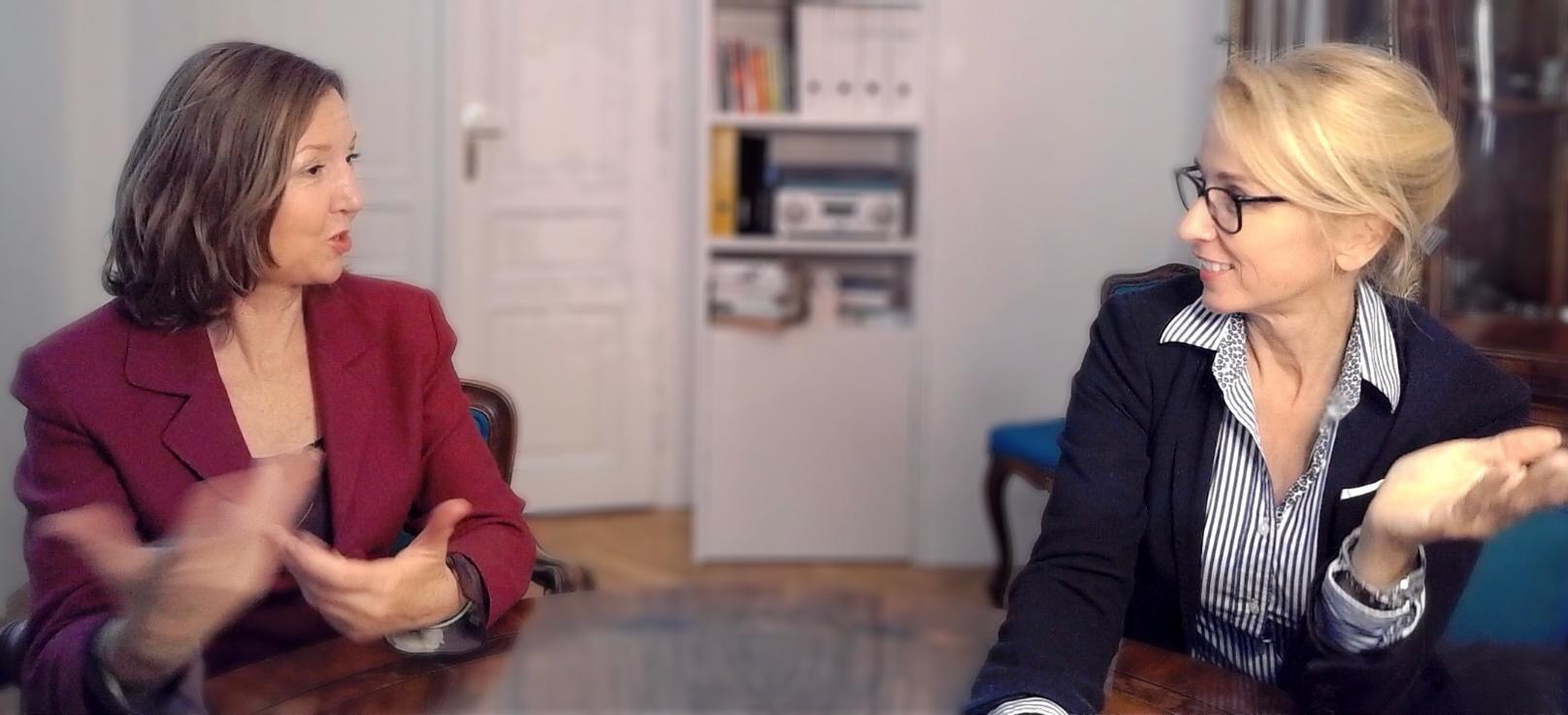 Johanna Eisenberger und Judith Girschik diskutieren